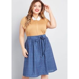 NWT Modcloth Perfect Timing Cotton Belted Skirt 22